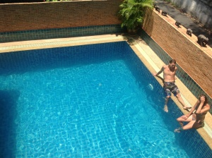 View of the pool from our 2nd floor room in Chiang Mai at SK II House
