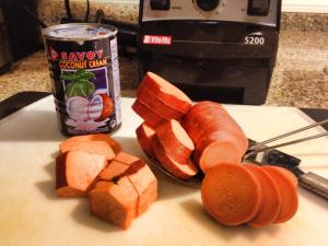 Coco cream and this is how you chop your sweet potatoes.  Chunky.